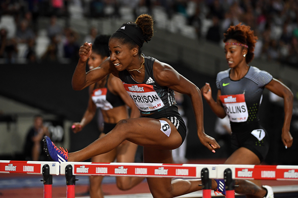 Photo: Keni Harrison wins the 100m hurdles in a world record of 12.20 at the IAAF Diamond League meeting in London (Kirby Lee)